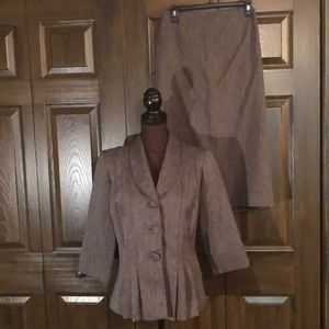 NWOT Danny & Nicole Brown Fitted Skirt Suit 8